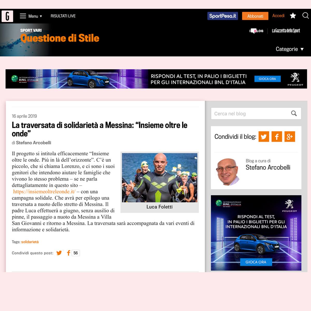 Articolo Questione di stile Gazzetta - Rassegna Stampa - Insieme oltre le onde - 2019